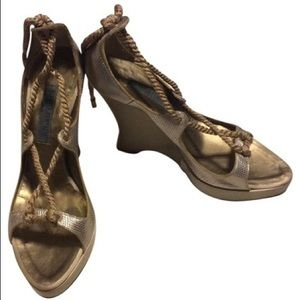 Alberta Ferretti Gold Laced Wedge Heel